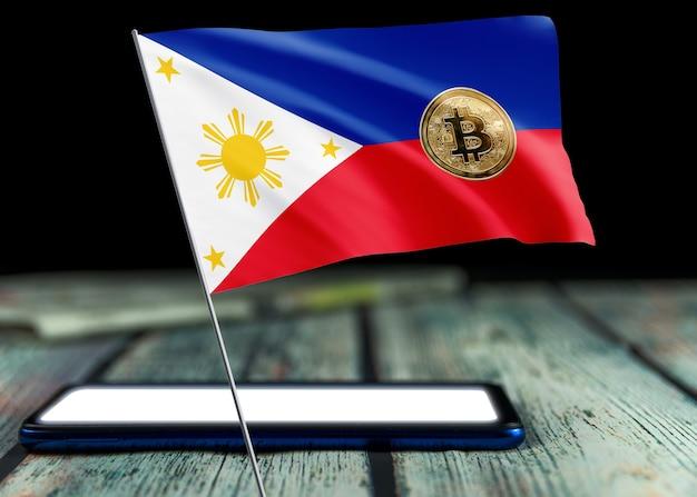 Bitcoin philippinen auf flagge der philippinen. bitcoin-nachrichten und rechtslage im philippinischen konzept.