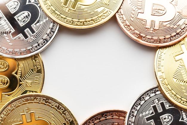 Bitcoin-rahmen in verschiedenen farben