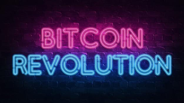 Bitcoin revolution neon schild