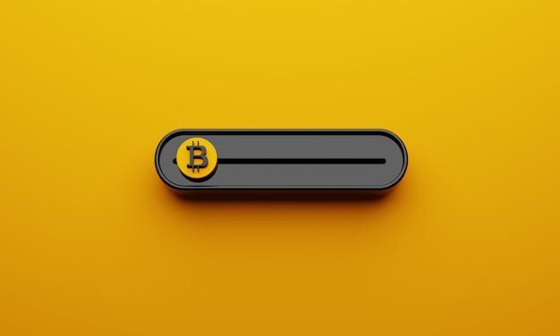 Bitcoin-schieberegler der schwarzen kryptowährungen bitcoin auf gelbem hintergrund