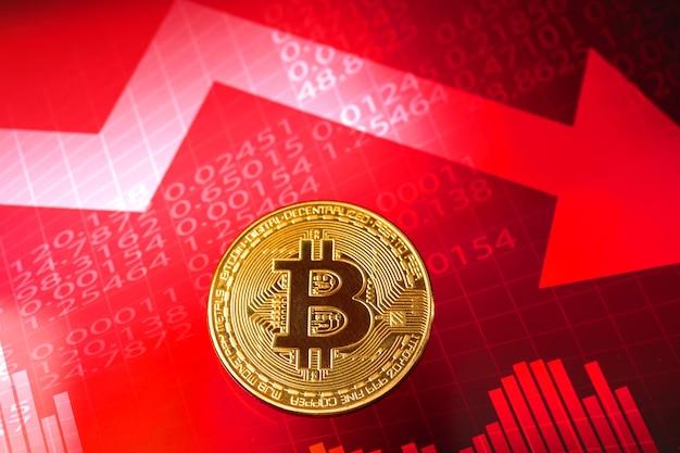 Bitcoin sinkt in den kosten, konzept des kryptowährungswertpreises nach unten, rote aktiendiagrammdiagramme mit pfeilen im hintergrund, geschäftsfoto