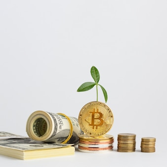 Bitcoin stapelt sich in der nähe von geldstapeln