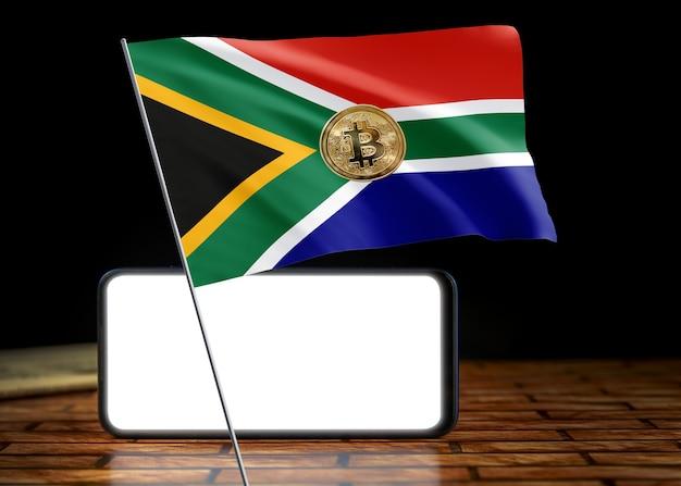 Bitcoin südafrika auf flagge von südafrika. bitcoin-nachrichten und rechtslage im südafrika-konzept.