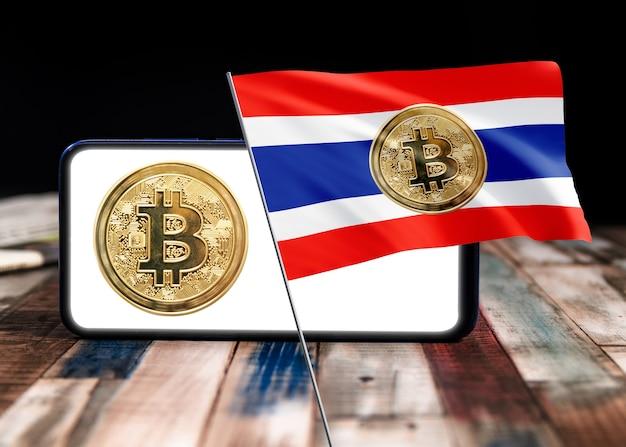 Bitcoin thailand auf flagge von thailand. bitcoin-nachrichten und rechtslage im thailand-konzept.