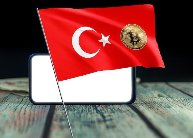 Bitcoin türkei auf flagge der türkei. bitcoin-nachrichten und rechtslage im türkei-konzept.