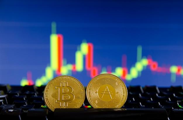 Bitcoin und cardano ada coin token digitale kryptowährungsmünze für dezentrales finanzbanking