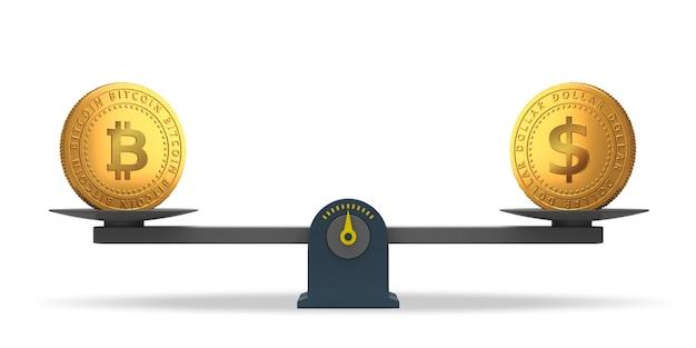 Bitcoin- und dollarmünzen auf waagen