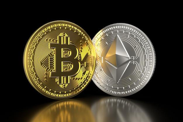 Bitcoin und ethereum. die goldenen und silbernen münzen 3d, die auf schwarzem 3d lokalisiert werden, übertragen.