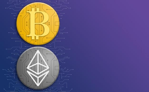 Bitcoin- und ethereum-münzen auf hintergrund der gradiententechnologie mit schaltungselementen 3d