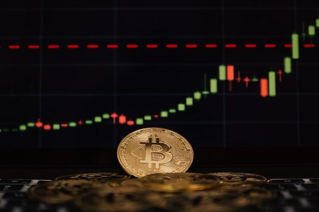 Bitcoin und hintergrundgrafik risiken können bei investitionen oder beim handel mit kryptowährungsinnovationen auftreten