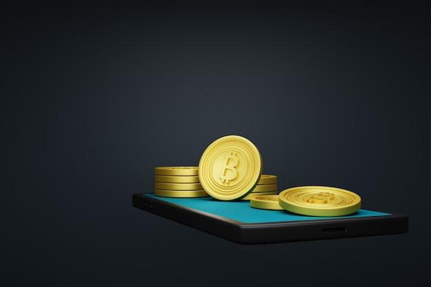 Bitcoin und smartphone.