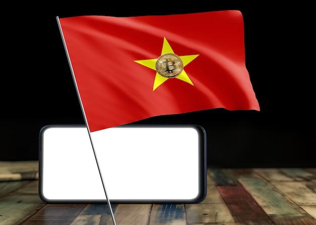Bitcoin vietnam auf flagge von vietnam. bitcoin-nachrichten und rechtslage im vietnam-konzept.