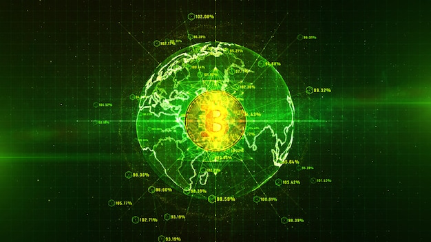 Bitcoin-währung unterzeichnen herein digitales cyberspace-, geschäfts- und technologie-netzwerk-konzept.