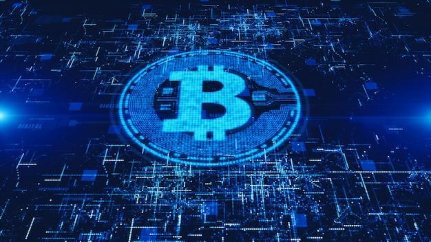 Bitcoin-währung unterzeichnen herein digitales cyberspace-, geschäfts- und technologiekonzept.