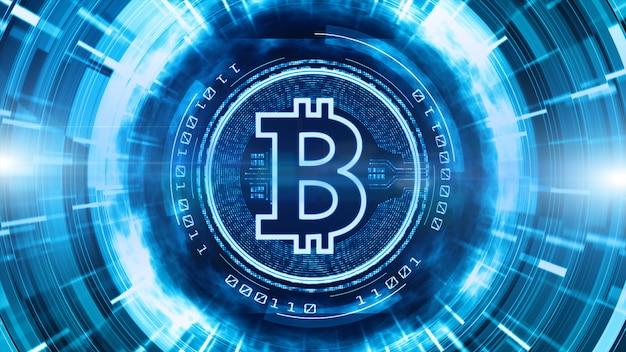 Bitcoin-währungszeichen im digitalen cyberspace-hintergrund