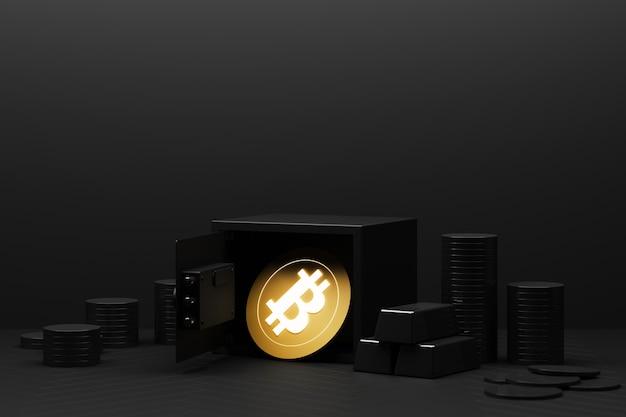 Bitcoin wird heute wertvoller als gold und währung. bitcoin wird in sicheren einlagen gespeichert.