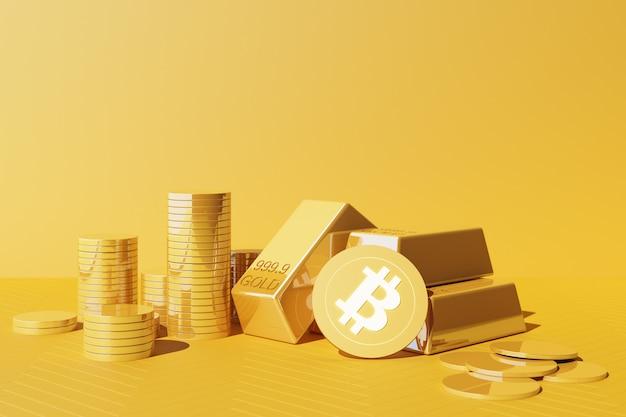 Bitcoin wird heute wertvoller als gold und währung, finanzkonzept in gelber farbe. 3d-rendering