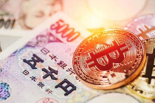 Bitcoin-zahlung mittels kryptowährung mit japanischem yen-geld.