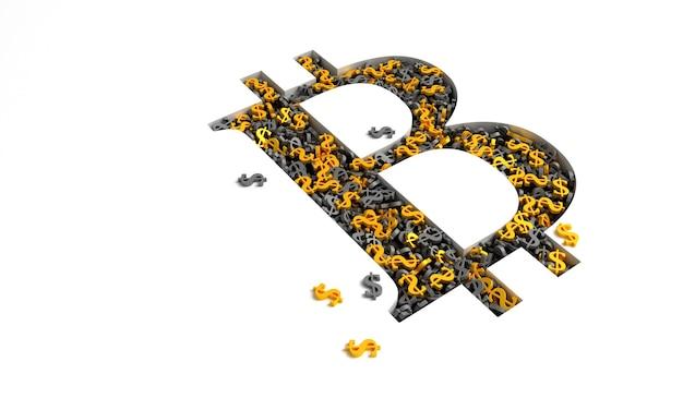 Bitcoin-zeichen gefüllt mit goldenen und schwarzen dollarzeichen