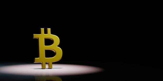 Bitcoin-zeichenform im scheinwerferlicht isoliert