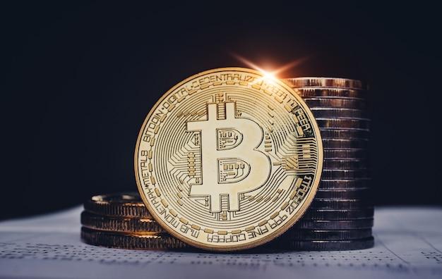 Bitcoins business-investitionskonzept handelsbörseneinkommen hohes risiko hohe rendite, marketing goldene gelegenheit