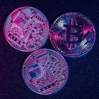 Bitcoins echte münzen. handelskonzept der kryptowährung