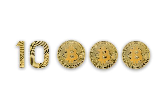 Bitcoins isoliert auf weiß