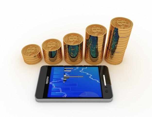 Bitcoins mit münzdiagramm. 3d gerenderte darstellung