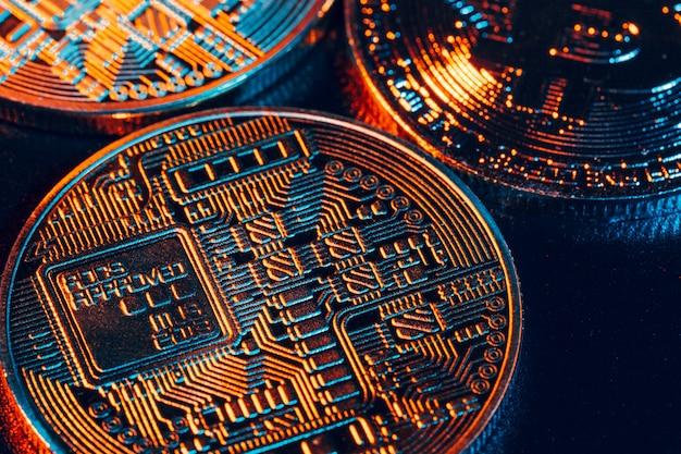 Bitcoins on black,
