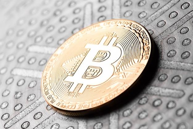 Bitcoins virtuelles geld. konzept weltweite kryptowährung.