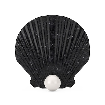Black beauty scallop sea oder ocean shell seashell mit weißer perle auf weißem hintergrund. 3d-rendering