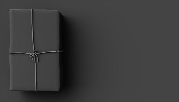 Black box auf einem schwarzen hintergrund, 3d-illustration