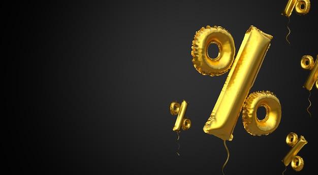 Black friday gold ballonsymbol von prozent auf schwarzem hintergrund platz für text kopieren