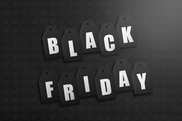 Black friday label tag auf schwarz
