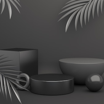 Black friday podium dekoration modell mit palmblättern, 3d-rendering