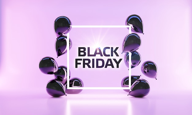 Black friday sale banner layout in 3d-rendering