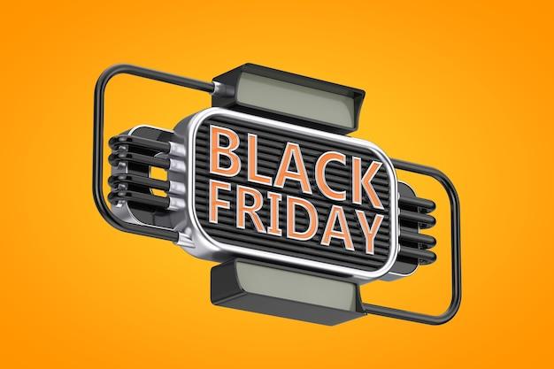 Black friday sale industrial style zeichen auf orangem hintergrund. 3d-rendering