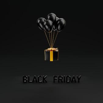 Black friday sale konzept geschenkbox schließen abdeckung und fliegende ballons 3d-rendering-illustration