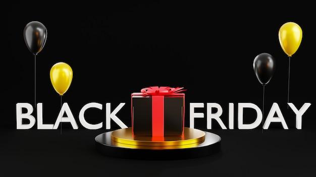 Black friday sale zylindrisches podium und geschenkbox mit glänzendem ballon 3d-rendering
