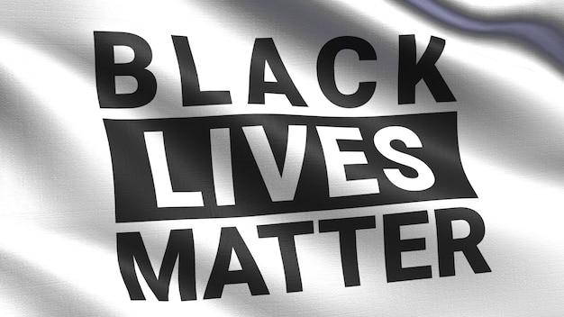 Black lives matter auf einer weißen stofffahne, winkende stoffstruktur