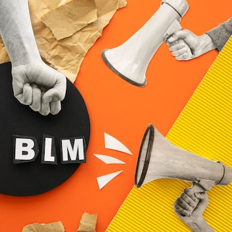 Black lives matter-konzept mit megaphon