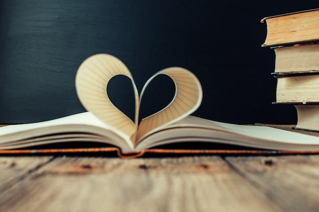 Blätter eines notizbuches in einem käfig, der in form eines herzens gewickelt ist.