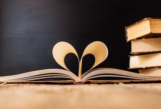 Blätter eines notizbuches in einem käfig eingewickelt in form eines herzens