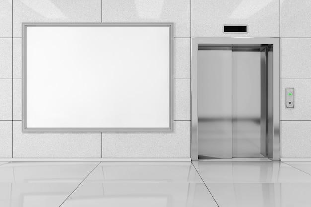 Blank ad billboard oder poster in der nähe von modernen aufzug oder aufzug mit metalltüren im bürogebäude extreme nahaufnahme. 3d-rendering