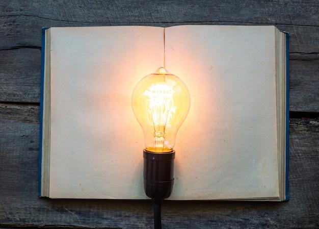 Blank buch mit einer beleuchteten glühbirne auf der oberseite