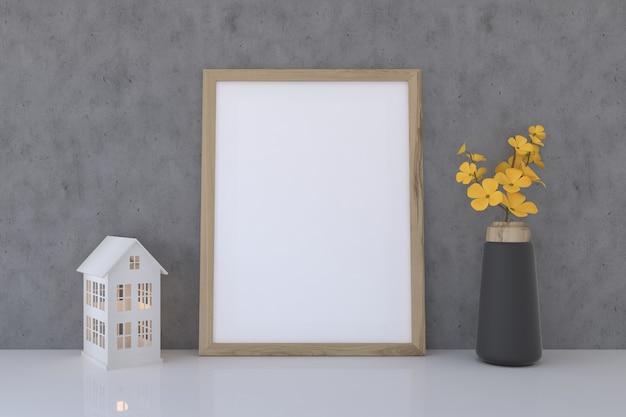 Blank frame mockup mit blumenvase und spielhaus