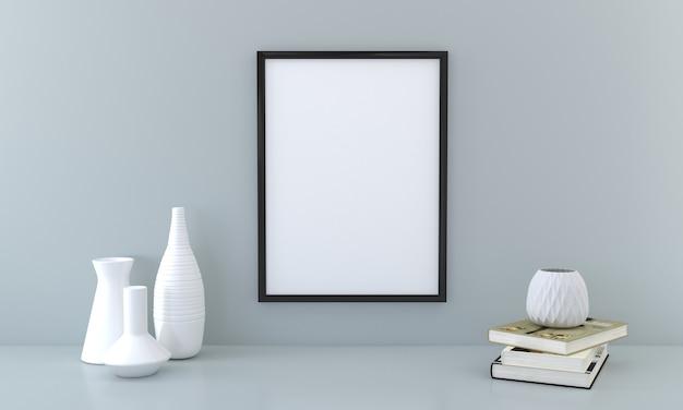 Blank frame mockup mit büchern und vasen auf grauer wand3d-rendering