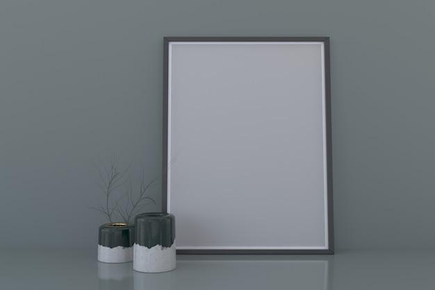 Blank frame mockup mit dekorativen pflanzenvasen auf dem boden