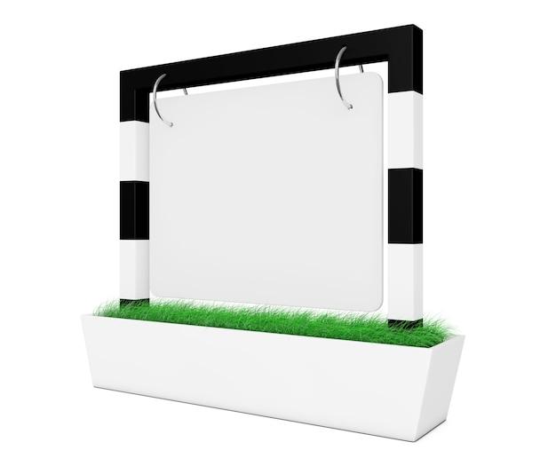 Blank outdoor banner desk display mit gras auf weißem hintergrund. 3d-rendering.