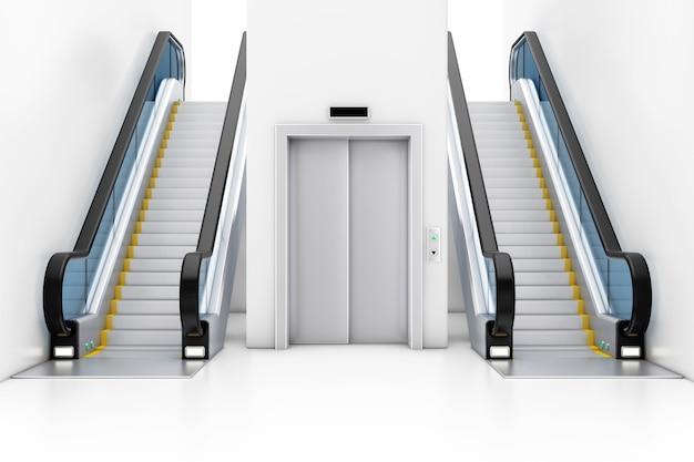 Blank silver closed lift lift zwischen modernen luxus-rolltreppen auf indoor-gebäude-einkaufszentrum, flughafen oder u-bahn-station extreme nahaufnahme. 3d-rendering